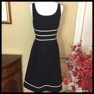 TAHARI Fit and Flare Black Dress with White Detail